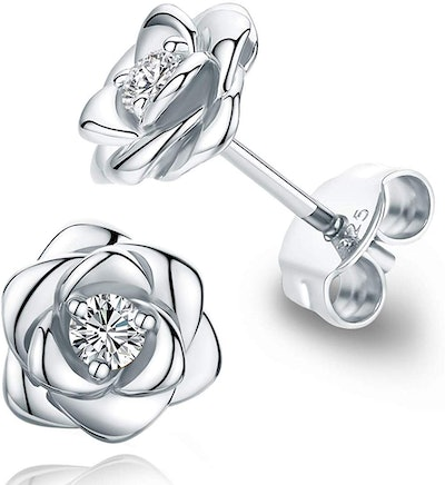 Raneecoco Gold-Plated Sterling Silver Rose Flower Earrings