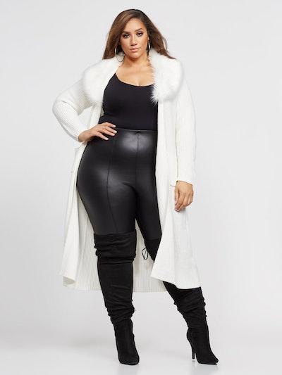 Loria Belted Faux-Fur Trim Cardigan in Ivory