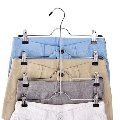 Tosnail 4 Tier Trouser & Skirt Hangers (4-Pack)