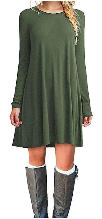 MOLERANI Women's Long-Sleeve T-Shirt Dress