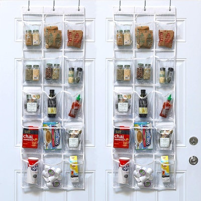SimpleHouseware Clear Over The Door Hanging Pantry Organizer (2-Pack)