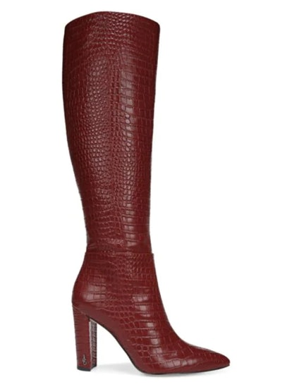 Raakel 2 Tall Croc-Embossed Leather Boots