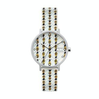 Aaren Three-Hand Bee Print White Silicone 36mm Watch