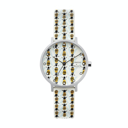 Aaren Three-Hand Bee Print White Silicone 36mm Watch
