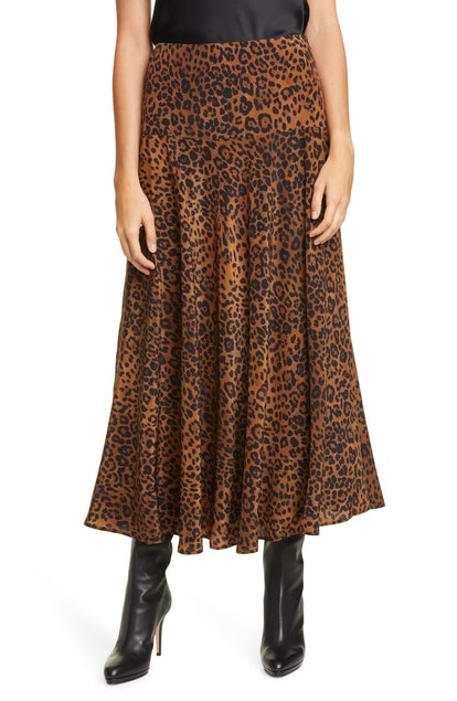 Elba Animal Print Silk Skirt