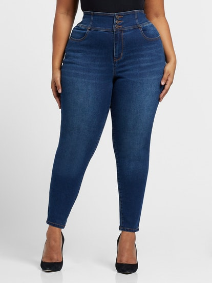 Sarah Rae, All Day - High-Rise Skinny Jeans in Dark Blue