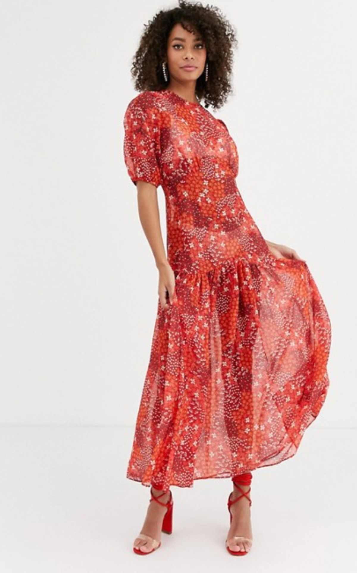 ASOS Never Fully Dressed puff sleeve midi dress in red floral print