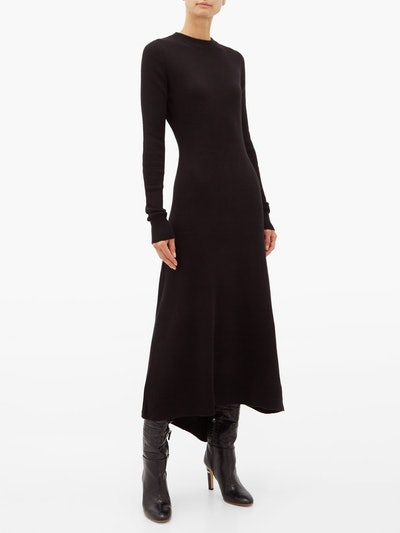 Fishtail Ribbed Cashmere Dress
