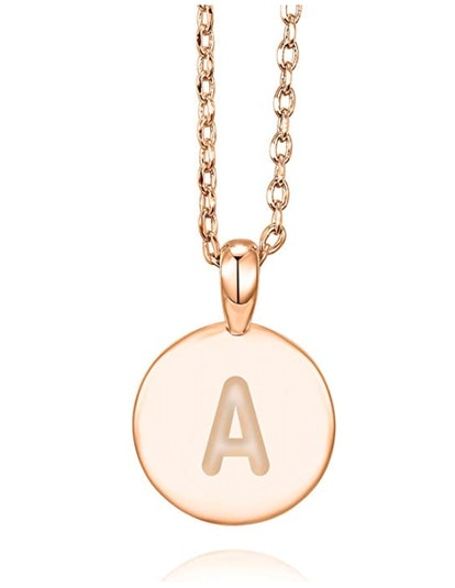 PAVOI 14K Rose Gold Plated Letter Necklace for Women