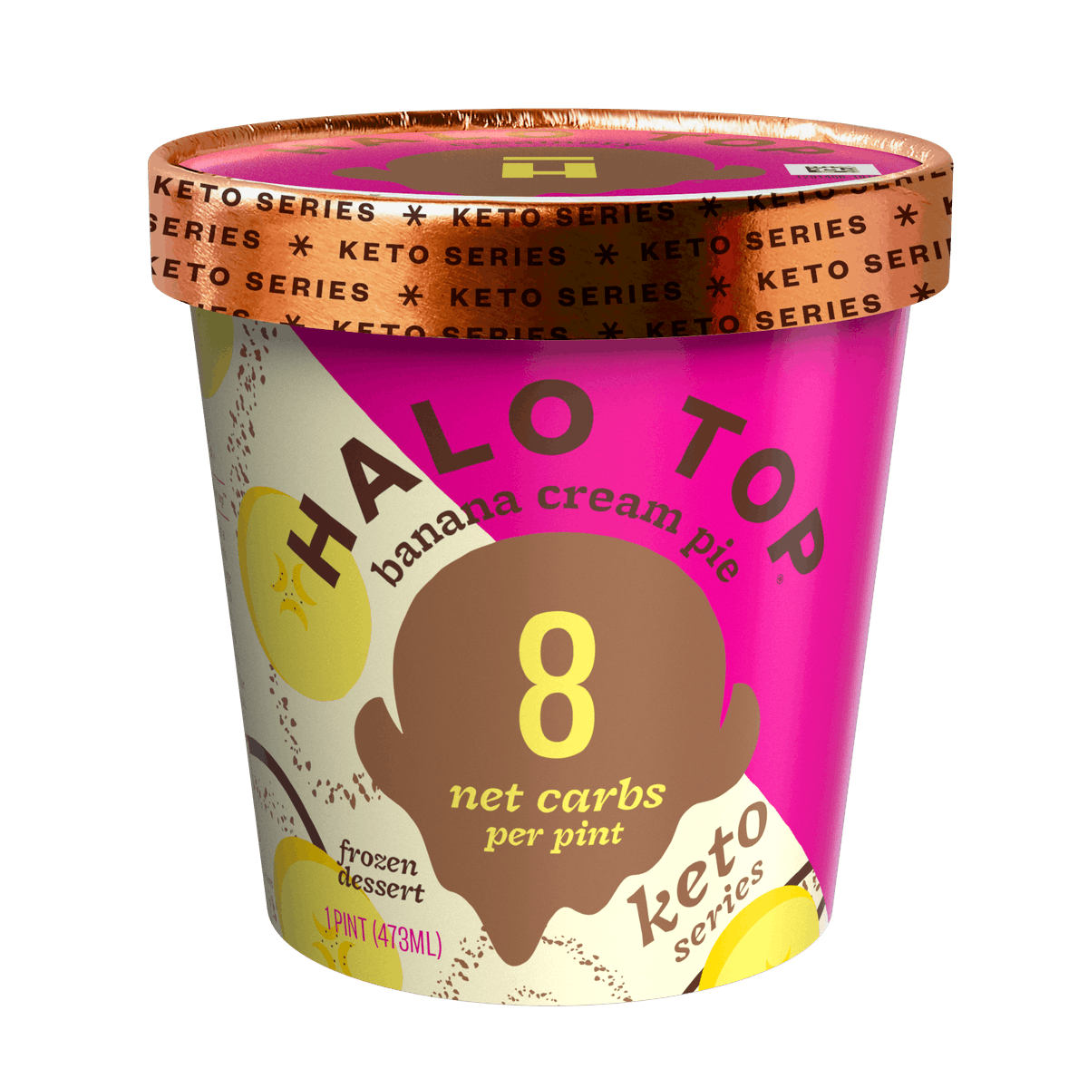 Halo Top's new Keto Series ice cream flavors include a Banana Cream Pie option.