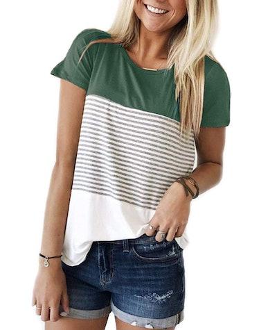 YunJey Color Block Stripe T-Shirt