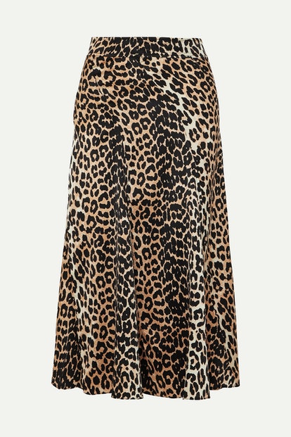 Leopard-Print Stretch-Silk Skirt