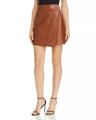 Abri Asymmetric Leather Wrap Skirt