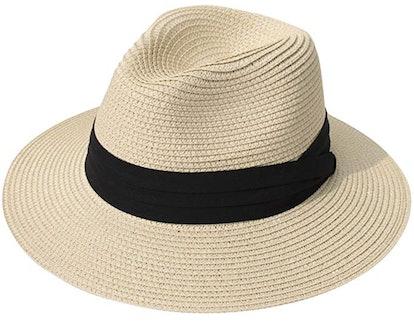 Lanzom Women Straw Panama Hat