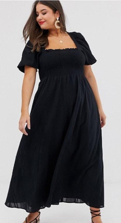 ASOS DESIGN Curve shirred bustier maxi dress with puff sleeve in seersucker