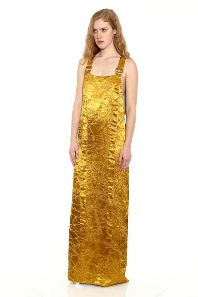 Drew Crinkled Satin Harness Dress