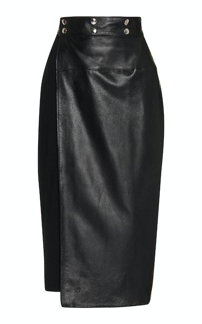 Knit-Paneled Leather Midi Skirt