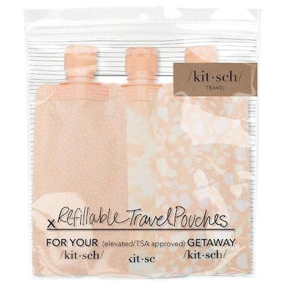 Refillable Travel Pouch 3pc Set - Blush
