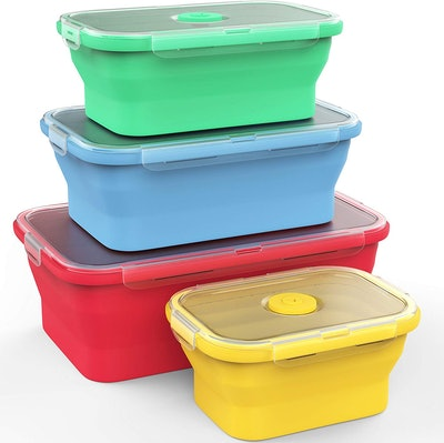 Vremi Silicone Food Storage Containers (Set Of 4 With Lids)