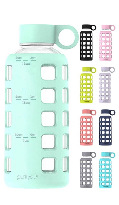 Glass Water Bottle with Non-Slip Silicone Sleeve and Stainless Steel Lid Insert