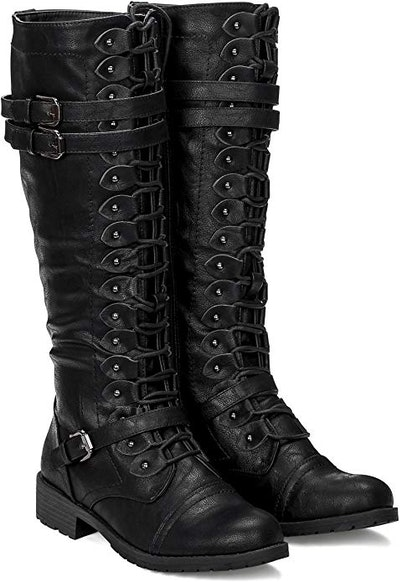 ILLUDE Women's Knee High Lace Up Buckle Military Combat Boots
