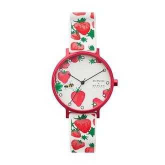 Aaren Three-Hand Strawberry Print White Silicone 36mm Watch