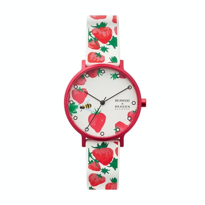 Aaren Three-Hand Strawberry Print White Silicone 36mm Watch