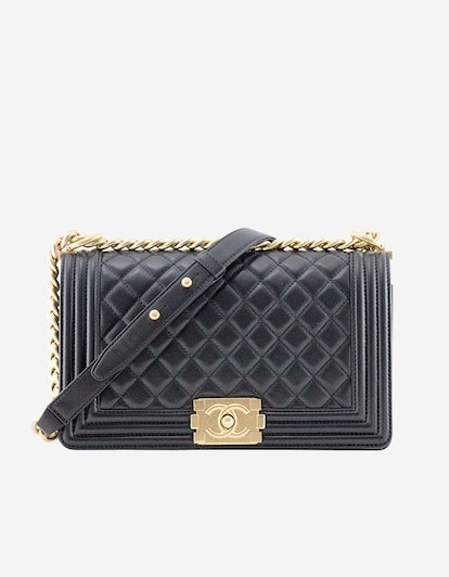 Boy Chanel Black Lambskin With Gold
