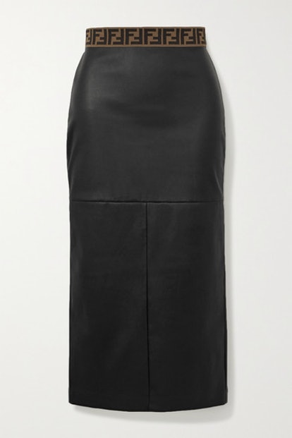Jacquard-Trimmed Leather Midi Skirt