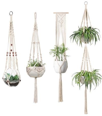 Mkono Macrame Hanging Planters (4 Pack)