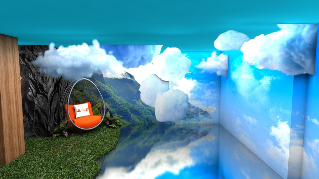 A swing hangs over fake grass and next to clouds as part of King's Hawaiian Breakfast Bungalow pop-up experience.