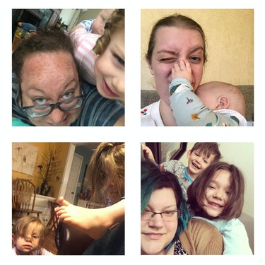 four photos of mothers being clambered over by their children