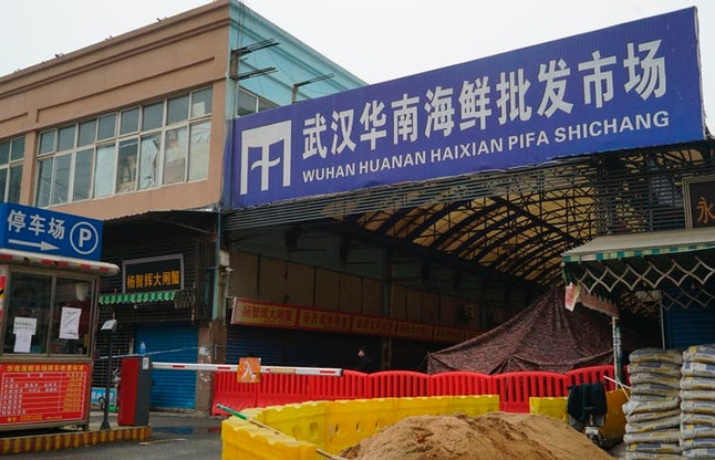 The Wuhan Huanan Wholesale Seafood Market, where the coronavirus outbreak is believed to have starte...