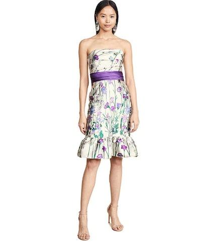 Marchesa Notte Women's Strapless Floral Cocktail Dress