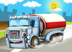 A smiling truck beneath a smiling sun