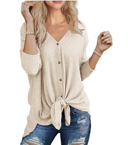 IWOLLENCE Women's Waffle Knit Tunic