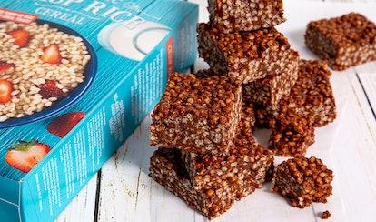 Trader Joe's chocolate and peanut butter crisp rice treats are an easy, no-bake dessert.