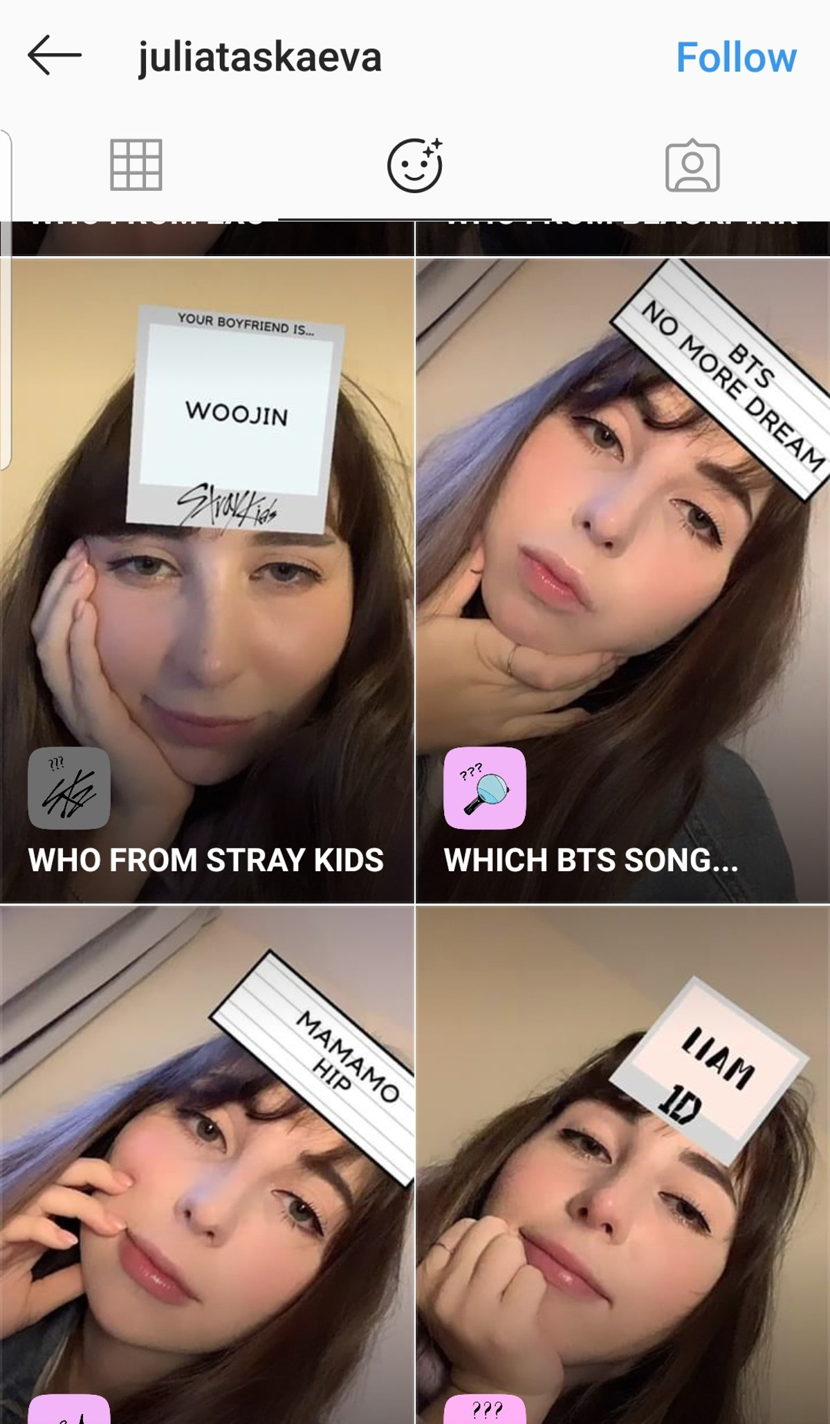"""Get The """"Which BTS Song"""" Instagram Story Filter by going to the creator's account."""