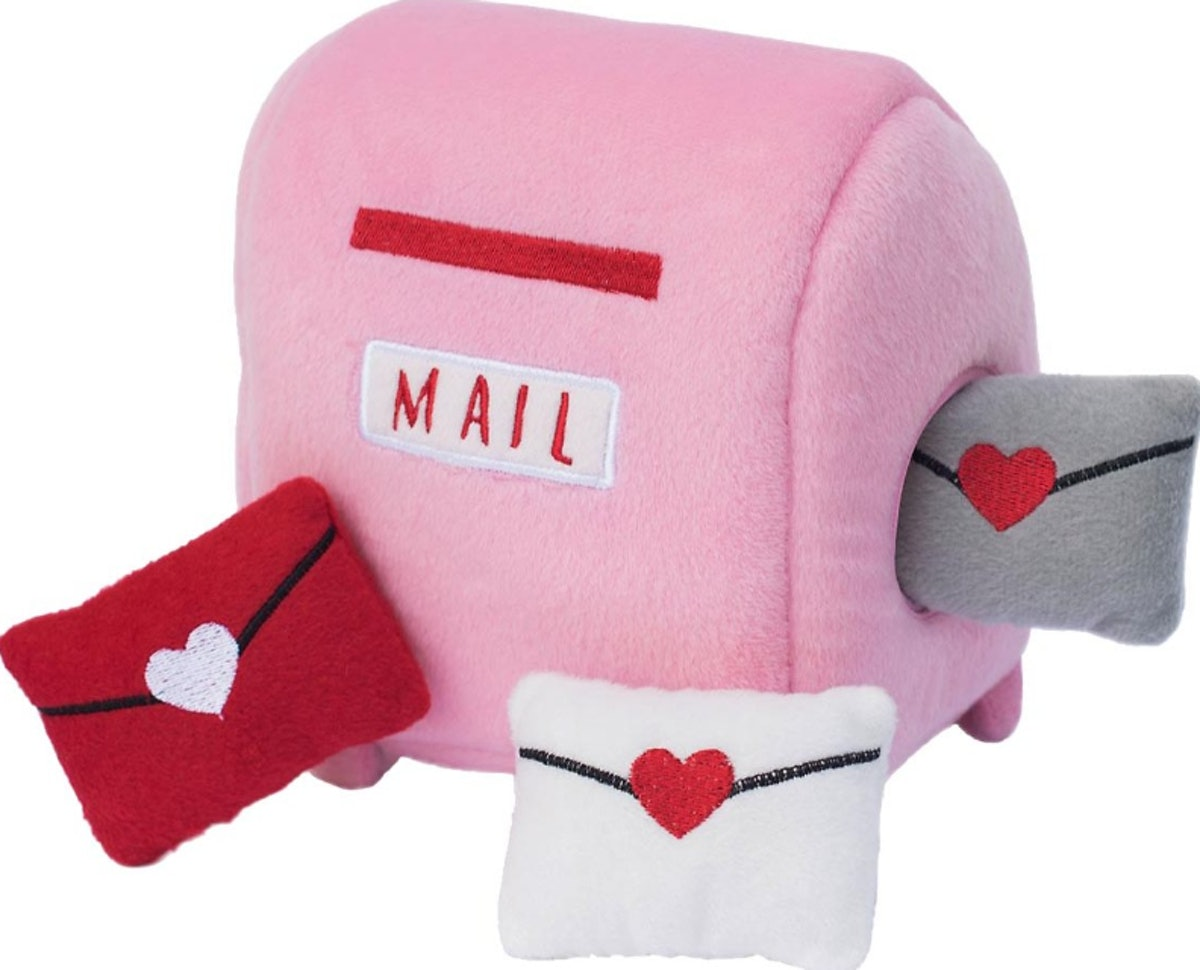 ZippyPaws Burrow Squeaky Hide & Seek Plush Dog Toy - Mailbox with Love Letters