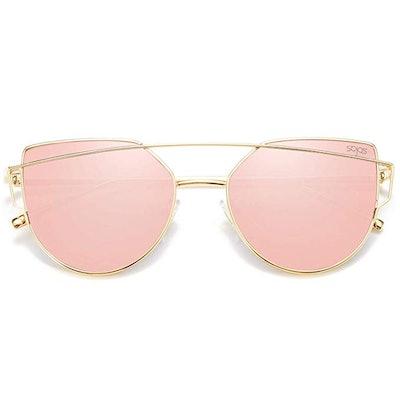 SOJOS Cat Eye Mirrored Sunglasses