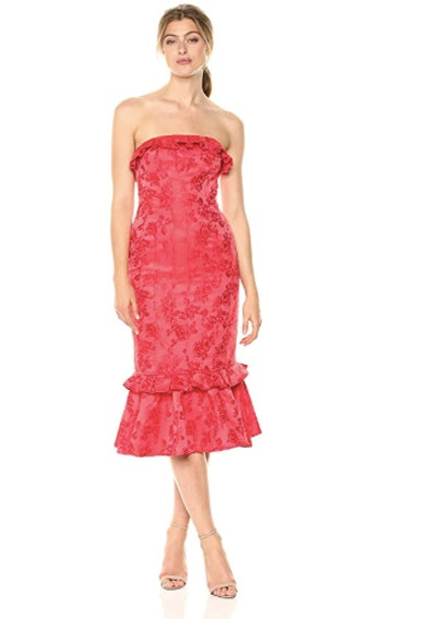 C/Meo Collective Women's Levity Strapless Rose Print Midi Dress with Ruffle Hem