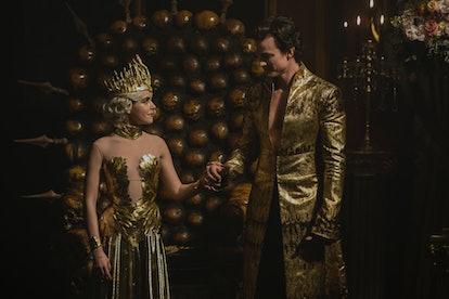 Kiernan Shipka as Sabrina and Luke Cook as Lucifer in Chilling Adventures of Sabrina Part 2