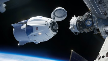 Artists rendering of the Crew Dragon docking with the International Space Station.