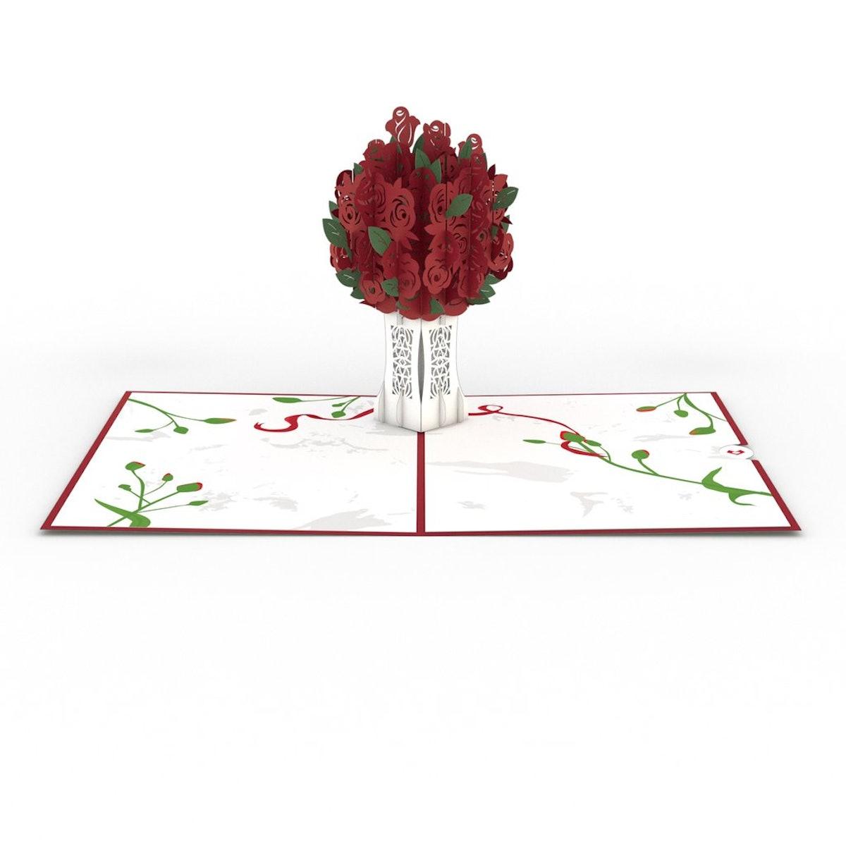 Rose Bouquet Red 3D card