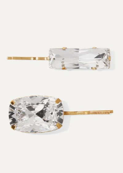 Two Gold-Tone Crystal Hair Slides