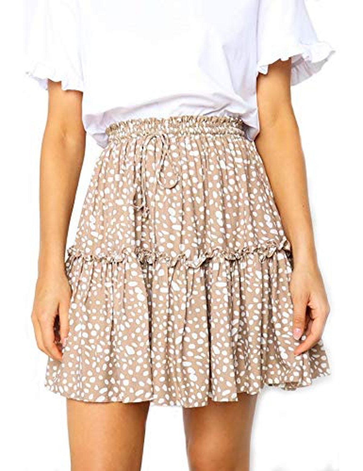 Relipop Women's Flared Short Skirt Polka Dot Pleated Mini Skater Skirt