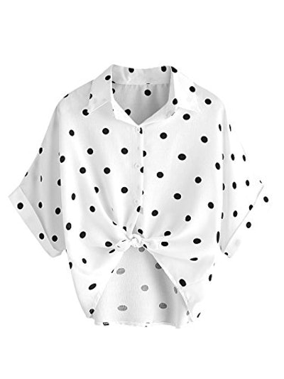 MAKEMECHIC Women's Collar Polka Dot Button Down Shirt