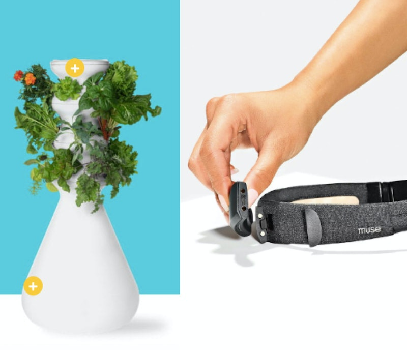 Screenshots of a self-fertilizing farmstand and a meditation tracker, two of the wellness items in the 2020 Grammys gift bag