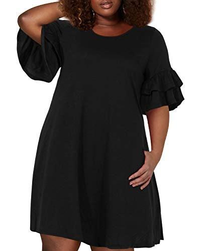 Nemidor Women's Ruffle Sleeve Jersey Knit Plus Size Casual Swing Dress