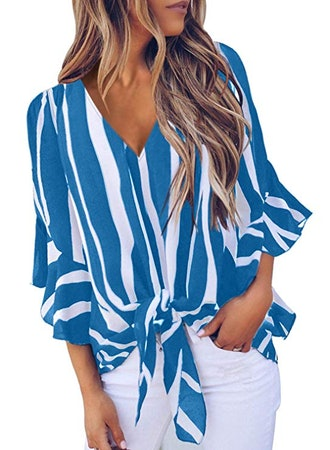 Asvivid Womens Striped Off The Shoulder Top